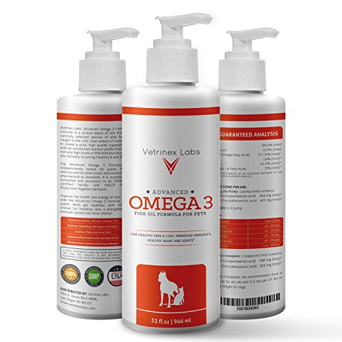 Wild Omega 3 Fish Oil for Dogs and Cats - Pure All Natural Formula Supports Healthy Skin, Coat, Joints, Heart and Immune System - Higher Levels of EPA & DHA than Salmon Oil - 32 Oz with Pump