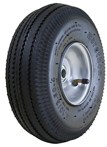 "Marathon 4.10/3.50-4"" Pneumatic (Air Filled) Hand Truck / All Purpose Utility Tire on Wheel, 2.25"" Offset Hub, 5/8"" Bearings"