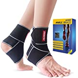 Ankle Brace, Husoo Breathable Ankle Support with Anti-Bacterial Fabric, Compression Ankle Wrap for Sports Protect, Ankle Sprain, Plantar Fasciitis, Injury Recovery, One Size Fits All (2 Pieces)