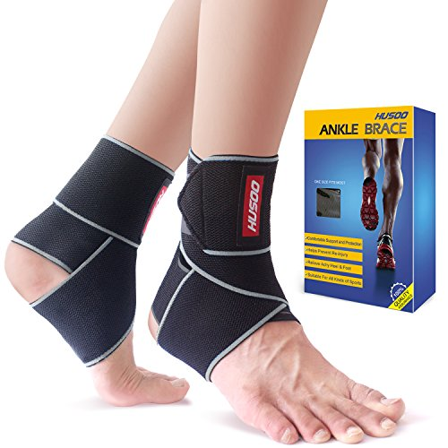Ankle Brace, Husoo Breathable Ankle Support, Compression Ankle Wrap for Sports Protect, Ankle Sprain, Plantar Fasciitis, One Size Fits All ()