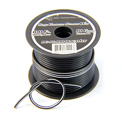 Cables General Blk (14 Gauge 100 Feet Stranded Hook Up Wire Black w/White Stripe Boat Application)