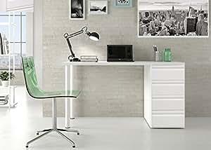 Mesas de estudio blanca montada pensada para mesa de for Mesa de ordenador blanca