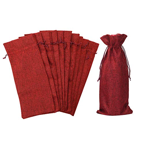 HRX Package Pack of 10 Burlap Wine Bags with Drawstring for Christmas, 14