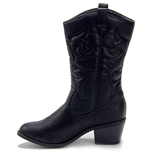 Jaime Aldo Kvinners Tex-25 Høye Sydd Vestlige Cowboy Cowgirl Boots Black