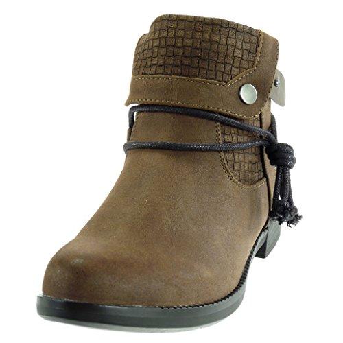 Angkorly - Zapatillas Moda Botines cavalier low boots mujer cocodrilo tanga acabado costura pespunte Tacón ancho 3 CM Forrada de Piel Caqui