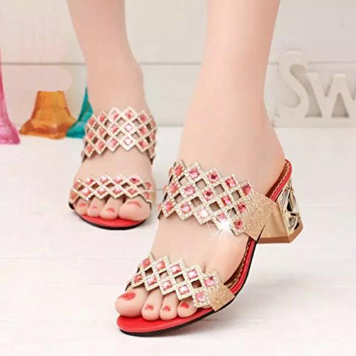 Rhinestone Mouth High Heel Fish New Red Girls Ladies Party Hollow DEESEE Women Big Square TM Arrivals Shoes Sandals PzHYxWwB8q