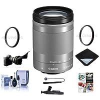 Canon EF-M 18-150mm f/3.5-6.3 IS STM Lens, Silver - Bundle With 55mm Uv Filter, Lens Wrap (15x15), Flex Lens Shade, 55mm CPL Filter, Cleaning Kit, Lenspen Lens Cleaner, Capleash II, Software Package