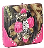 Western Hot Pink Camo Camouflage Flower Rhinestone Clutch Wallet, Bags Central
