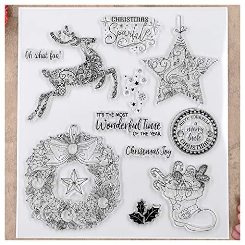 Kwan Crafts Merry Christmas Deer Star Wreath Clear Stamps for Card Making Decoration and DIY -