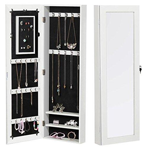 Yaheetech Black/White Mirrored Jewelry Cabinet Lockable Jewelry Organizer Dressing Mirror (White, wall mounted)