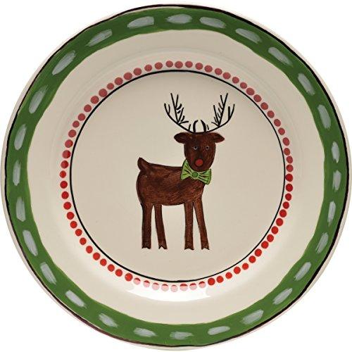 Thompson & Elm M. Bagwell Simply Christmas Reindeer Ceramic Salad Plate, Red/Green