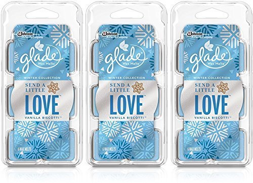 Glade Wax Melts - Winter Collection 2015 - Send A Little Love - Vanilla Biscotti - Net Wt. 2.3 OZ (66 g) / 6 Count Wax Melts Per Package - Pack of 3 by Glade