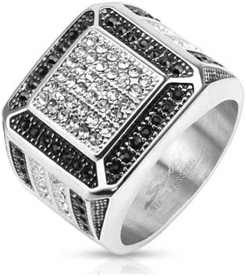 Stainless Steel Square Wide Cast Ring with Center Clear Simulated Gems and Paved Black Borders with Micro Paved Black & Clear Side View Designs, Width 18 MM - Crazy2Shop