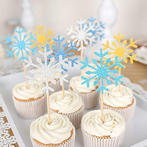 HansGo 40 Pcs Glitter Snowflake Cupcake Toppers Cake Picks Table Food Decoration Christmas Cupcake Toppers Dessert Picks for Birthday Wedding Baby Shower -