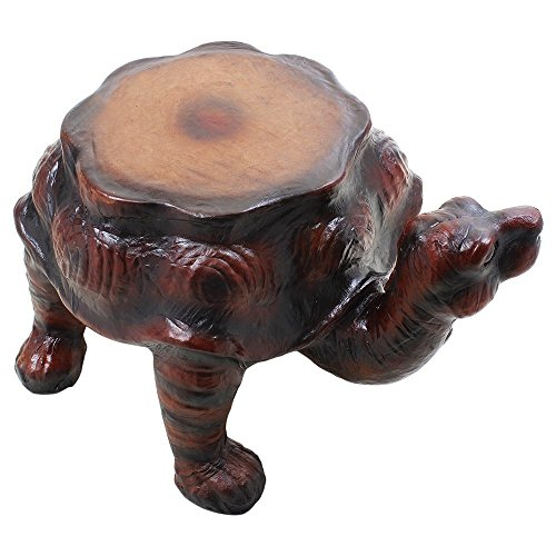 Cyber Monday Wooden Round Stool Turtle Figurine Ottoman Stool Handcrafted Sturdy Nursery Kids Room Distinctive Furniture by Store Indya