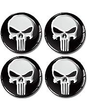 SkinoEu® 4 x 65 mm 3D-gel siliconen autosticker Punisher doodshoofd Skull velgenstickers voor wieldoppen naafdoppen wielnaafdop wielsticker naafdop auto tuning A 165