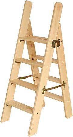 Escalera portátil de 4 peldaños, Escalera de Tijera, Escaleras de escaleras de Madera para sillas de casa para niños y Adultos, Herramienta de jardín para el hogar, Máx. 150kg en Natural: Amazon.es: