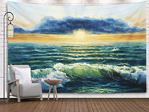 Price comparison product image Sertiony Tapestry Wall Hanging,  Art Map Tapestry Décor 60x50 Inches Oil Painting of Ocean and Beach on canvasRich Golden Sunset Over oceanModern Impressionism for Bedroom Colorful Big Tapestries