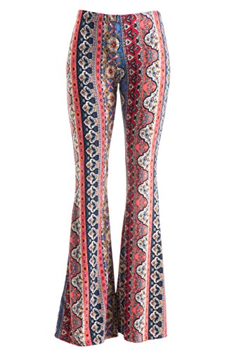 Fashionomics Womens Boho Comfy Stretchy Bell Bottom Flare Pants (S, BH2CORAL) -