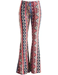 Womens Boho Comfy Stretchy Bell Bottom Flare Pants