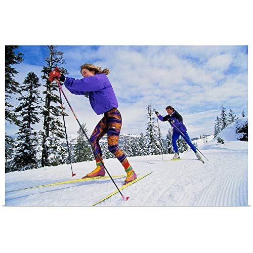GREATBIGCANVAS Poster Print Entitled Couple Cross-Country (Telemark or 'Nordic') Skiing by ()