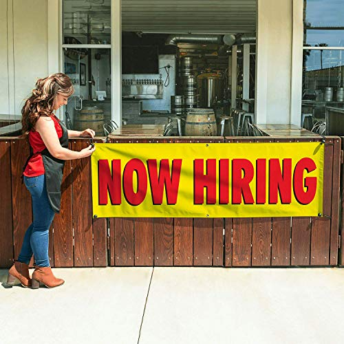 NOW HIRING Banner 2ftX6ft Yellow