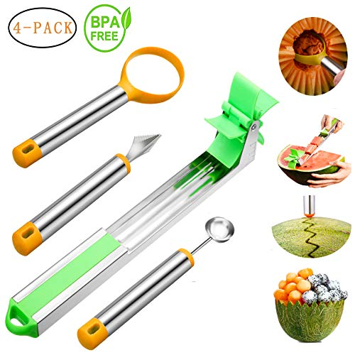 Watermelon Windmill Cutter Stainless Steel Watermelon Slicer for Melon Cantaloupe Fruit Slicer Corer Knife Baller Scoop Tool Set of 4 Easy Grip Kitchen Gadgets for Making Summer Fruit Platters