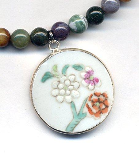 Jasper Porcelain Necklace (Ocean Jasper Necklace, Broken China Floral Porcelain Pendant, Ming Style Pendant Necklace, Recycled Porcelain Jewelry by AnnaArt72)