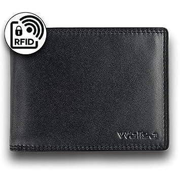 d23930abf29ad WALISA Geldbeutel für Männer mit RFID Schutz Ledergeldbeutel Herren mit  Doppelnaht Geldbörse aus echtem