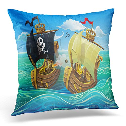 Battle Square Flag (Emvency Throw Pillow Cover Red Cartoon Sea Battle of Wooden Ships Attack Pirates Decorative Pillow Case Home Decor Square 18