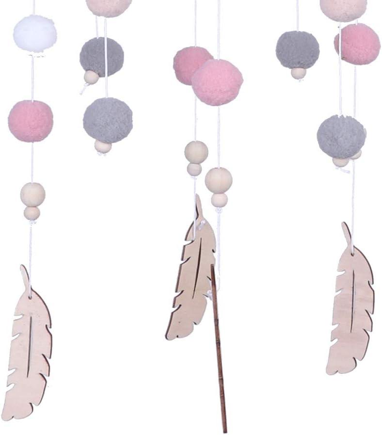 Berceau Mobile nouveau-n/é lit cloche hochet jouets Hairball carillons /éoliens accessoires de photographie jouet suspendu ornements noir