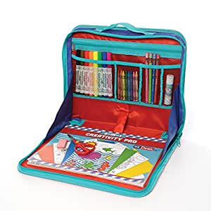 """KITTRICH EZ02-ADT100-12 EZDesk Travel Activity Kit, Laptop Style Desk with Writing and Craft Accessories, Mdl. #T100, 11.18"""" x 13.39"""""""