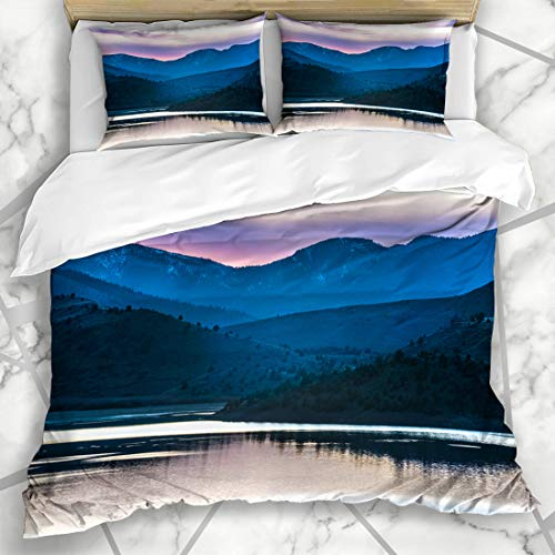 Ahawoso Duvet Cover Sets Queen/Full 90x90 Foothill Purple Siskiyou Pink Sunset Weed California Lake Inactive by Nature Parks Cascades Climate Microfiber Bedding with 2 Pillow Shams