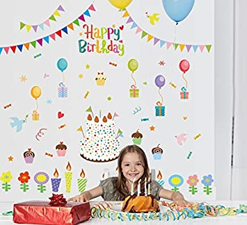 TOTOMO W140 Happy Birthday Wall Decals Removable Decor Decorative Painting Supplies Treatments