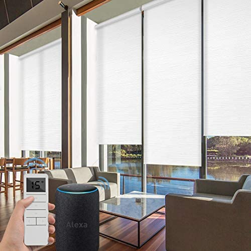 Graywind Motorized Roller Shades 60 Blackout Light Filtering Window Shades Cordless Solar Blinds Freestop Roller Blinds with Valance for Smart Home and Office, Customized Size, Jacquard White