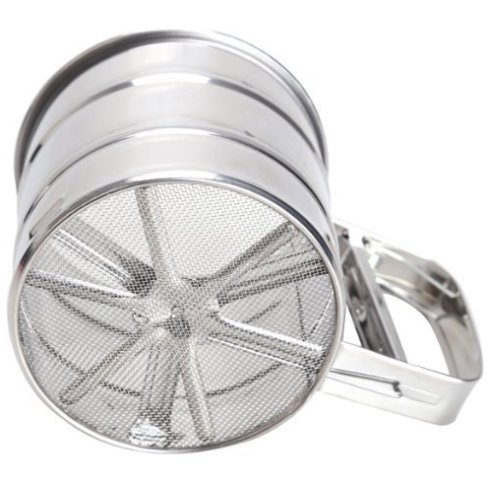 3-Cup Baking Flour Sifter DIY/Stainless Steel/Large Kitchen Cooking Accessory/Measures Up to 3 Cups (375g)/Easy One Hand Trigger Operation