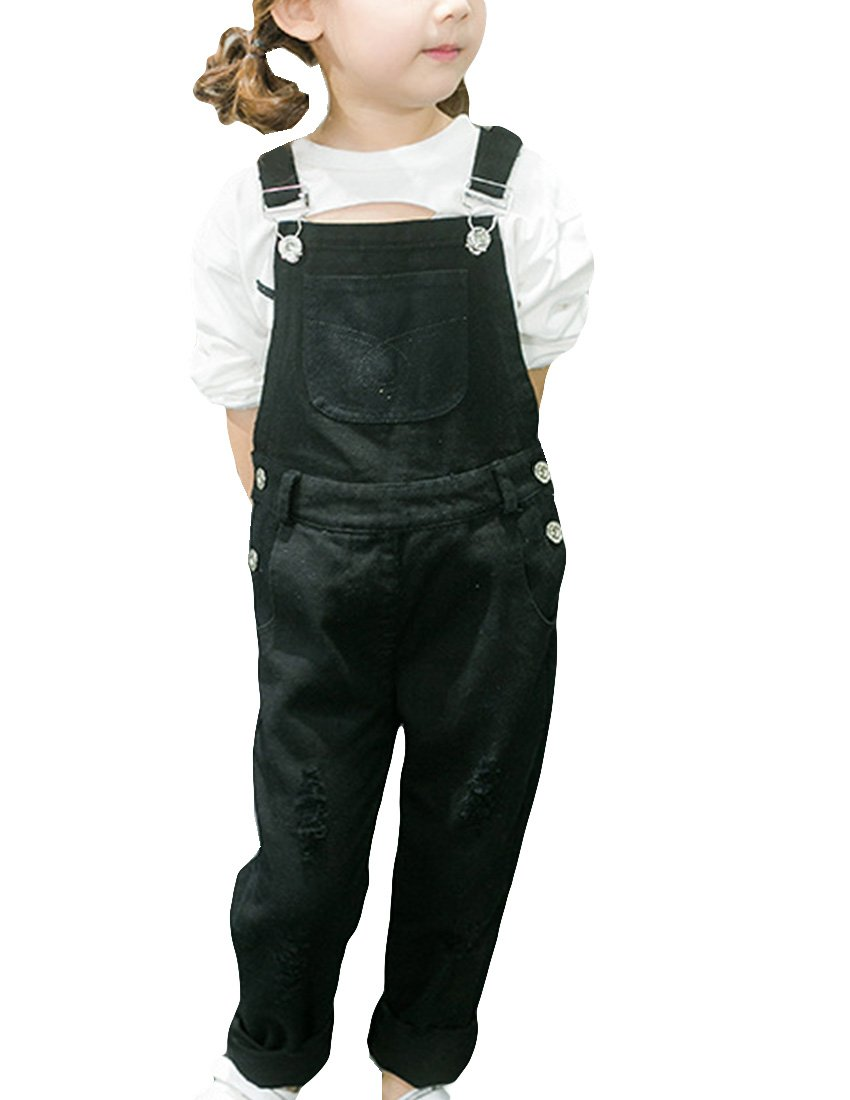 MFrannie Little Girl Casual Denim Cotton Autumn Loose Overall Pants Black 4T