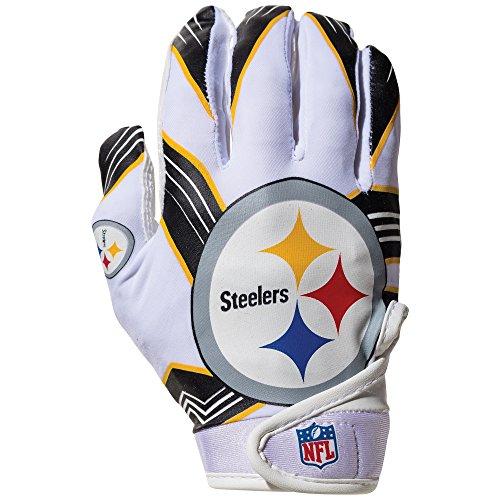 NFL Pittsburgh Steelers Youth Receiver Gloves,White,Medium - Nfl Pittsburgh Steelers Ultimate Fan