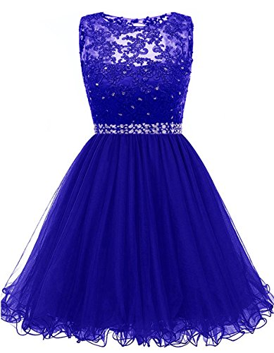 Bella Beaded Skirt (Himoda Lace Beaded Homecoming Dresses Sequined Appliques Cocktail Prom Gowns Short H010 4 Royal Blue)