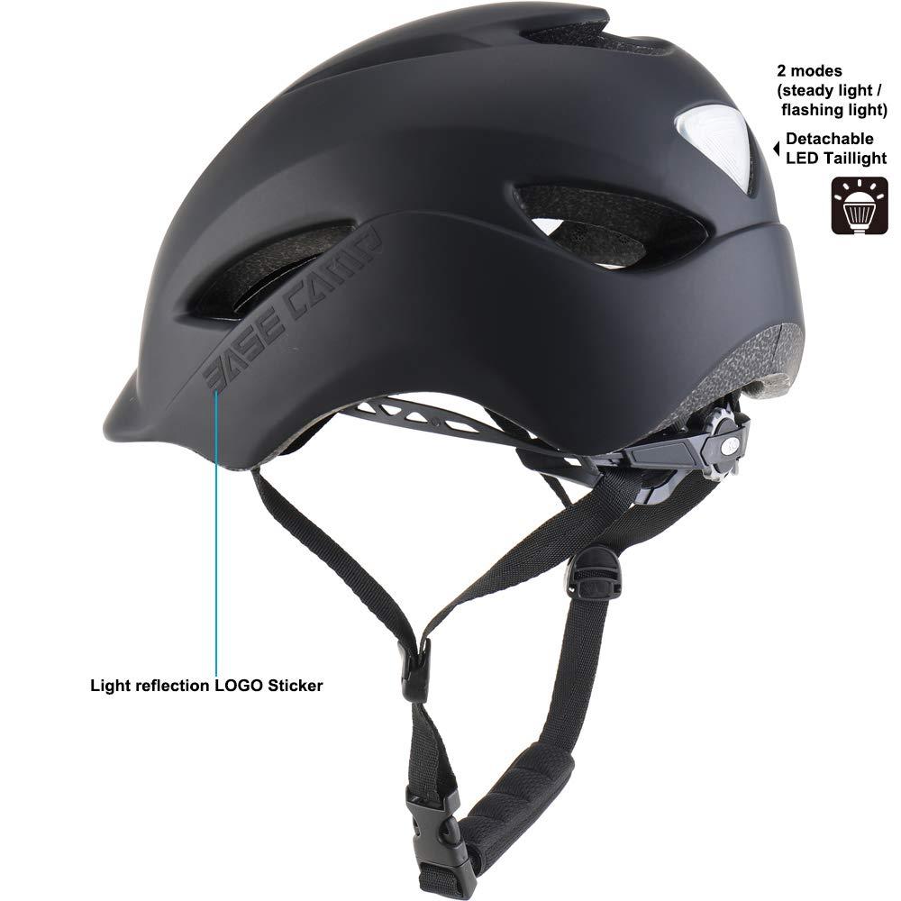 Adjustable M L Size 55-61 cm Base Camp Adult Bike Helmet with Rear Light for Urban Commuter Black
