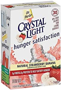 Crystal Light Drink Mix On The Go Hunger Satisfaction Natural Strawberry Banana - 12 Pack