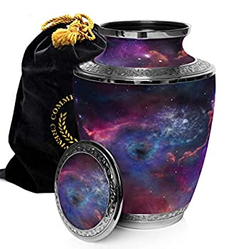 Image of Home and Kitchen Cosmic Galaxy Universe Cremation Urns for Adult Ashes for Funeral, Niche or Columbarium, 100% Brass, Cremation Urns for Human Ashes Adult 200 Cubic inches (Interstellar Nebula, Large)