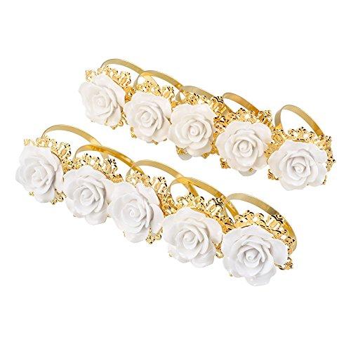 Kicode Luxurious 10pcs Resin Rose Designed Napkin Ring Holde
