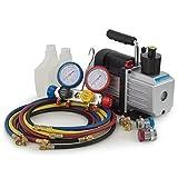 ARKSEN 4 Way Valve Manifold Gauge 4-Hoses Quick Adapter HVAC + 1/2HP 5CFM Vacuum Pump R410 R22 R134 R407C
