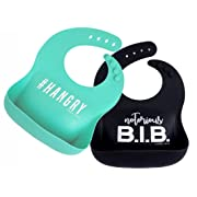 Simka Rose Silicone Bib - Waterproof Baby Bibs for Girls and Boys - Perfect for Babies and Toddlers - Easy to Clean Feeding Bibs - Excellent Baby Shower Gift - Set of 2 (Black/Teal)