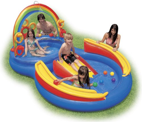(INTEX Inflatable Kids Rainbow Ring Water Play Center)