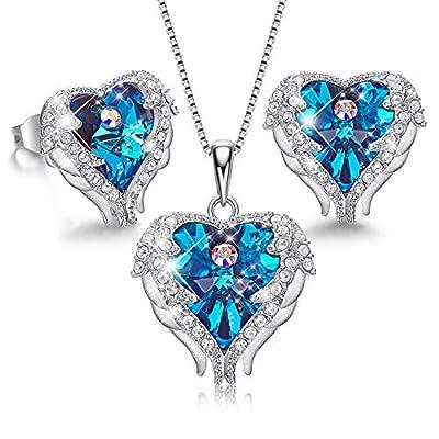 CDE Jewelry Set for Women 18K White Gold Plated Angel Wing Swarovski Crystal Pendant Necklace Heart of Ocean Stud Earrings for Girls Mom