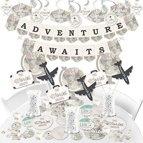 World Awaits - Travel Themed Graduation and Retirement Supplies Party Decoration Kit - Fundle Bundle -