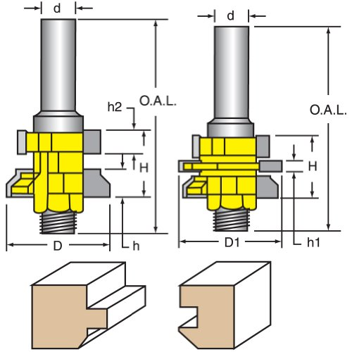 er Bits, Tongue & Groove, Wedge, T&G V Joint Cutter 1/2