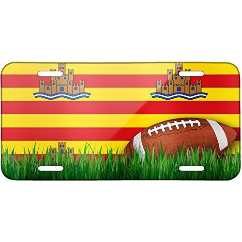 Football with Flag Ibiza region Spain Metal License Plate 6X12 Inch by Saniwa
